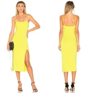 Lovers + Friends Skylar Midi Slit Dress in Lime